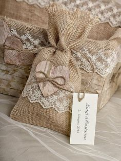 ideas for baby diy gifts ideas Burlap Wedding Favors, Burlap Favor Bags, Wedding Favors And Gifts, Wedding Favor Bags, Burlap Wedding Decorations, Personalized Wedding, Tree Decorations, Lavender Crafts, Burlap Runners