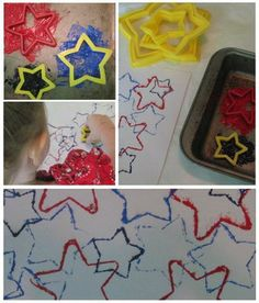 The Masked Mommy: of July Kid's Craft. Gold and silver paint would also work for Christmas. Daycare Crafts, Classroom Crafts, Fun Crafts For Kids, Summer Crafts, Holiday Crafts, Holiday Fun, Kid Crafts, Patriotic Crafts, July Crafts