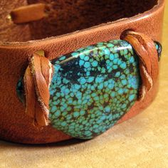 Turquoise Leather Cuff Bracelet Bohemian Jewelry by EponasCrystals