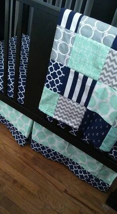 Custom Crib Bedding Set Made to Order Mint gray navy nautical crib skirt sheet baby blanket Crib Bedding Boy, Custom Baby Bedding, Best Bedding Sets, Luxury Bedding Sets, Luxury Duvet Covers, Crib Skirts, Comforter Cover, Comforter Sets, Cozy Bed