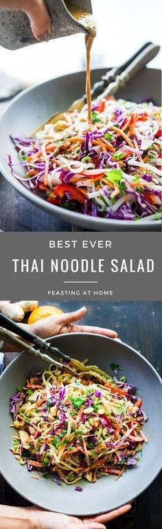Thaise noedel salade - Simple, tasty THAI NOODLE SALAD with the best Peanut Sauce ever! ( You'll fall in love with love the secret ingredient! ) Vegan, GF and oooooh so delicious! Thai Noodle Salad, Noodle Salads, Thai Chicken Salad, Noodle Bowls, Noodle Soup, Grilled Chicken, Tasty Thai, Thai Vegan, Vegetarian Recipes