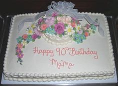 Sheet cake with 6 on top. Cascade mixed butter cream flowers with ribbon. Grandma Birthday Cakes, Birthday Sheet Cakes, Happy 90th Birthday, 90th Birthday Parties, Birthday Cakes For Women, Birthday Cookies, Birthday Ideas, 90 Birthday, Birthday Nails