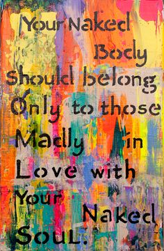 "What wisdom in self protection. ---Saatchi Online Artist: Marie Starro; Acrylic 2013 Painting ""Naked Body"""
