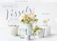 Centerpiece inspiration from BHLDN. Love this mix and match of whites, textures, and mercury glass.
