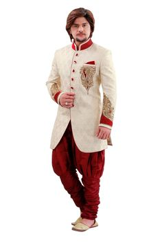 An charmingly styled Cream Brocade Men's Indo Western that is perfect for all ethnic functions. All patterns are intricately embellished with Bugle Beads Cutdana, Patch Work & Shade Stones work. Sherwani Groom, Mens Sherwani, Wedding Sherwani, Wedding Groom, Wedding Men, Dress Wedding, Indian Groom Dress, Wedding Designs, Blouse Designs