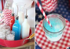 Red, White, and Blue Italian Soda bar for a 4th of July party!