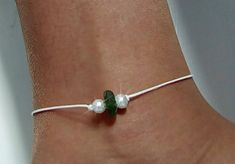 Lovely genuine green sea glass and white glass pearls on a 10 inch white waxed cotton cord anklet. If you need the anklet a little shorter or longer just ; Coin Pendant Necklace, Sea Glass Necklace, Shell Pendant, Sea Glass Jewelry, Garnet Necklace, Cute Jewelry, Body Jewelry, Jewlery, Turtle Earrings