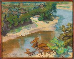 Stanisław Wyspiański (Polish, 1869-1907), Pejzaż z rzeką [Landscape with a River], 1900. Pastel on paper, 23.8 x 31.1 cm.