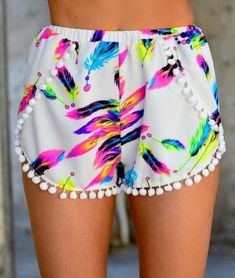 Feather Pom Shorts $32