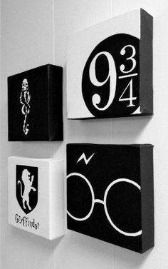 A set of 4 Harry Potter Minimalist Hand Painted Acrylic Canv.- A set of 4 Harry Potter Minimalist Hand Painted Acrylic Canvas – A set of 4 Harry Potter Minimalist Hand Painted Acrylic Canvas – - Harry Potter Diy, Objet Harry Potter, Harry Potter Thema, Theme Harry Potter, Harry Potter Bedroom, Harry Potter Birthday, Harry Potter World, Harry Potter Stuff, Harry Potter Minimalist