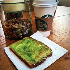 Avocado toast and a soy latte  Perfect way to start the day!  The real question is...to leg day or not to leg day? I think I'll be doubling up my workouts today, here's to not collapsing!  #starbucks #avocado #healthyfat #nom #vegan