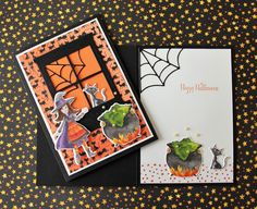 Cauldron Bubble Bundle from Stampin' up! Halloween Tags, Holidays Halloween, Halloween Themes, Halloween Crafts, Halloween 2018, Fall Cards, Holiday Cards, Scrapbook Cards, Scrapbooking