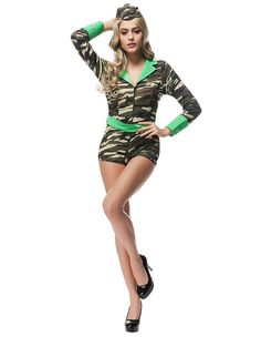Halloween Female Soldier Army Girl Costume