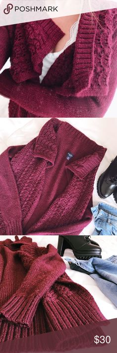 American Eagle Outfitters open cardigan Burgundy! My favorite color 😍get cozy in this cascading open cardigan from AEO! The material is acrylic, polyester, 24% wool, & metallic blend. Long sleeves, crochet detail! Offers welcome ✌🏼no trades thank you American Eagle Outfitters Sweaters Cardigans
