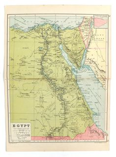 Egypt Map, 1930's Map of Egypt, old map, historical map, home decor, travel, office decor