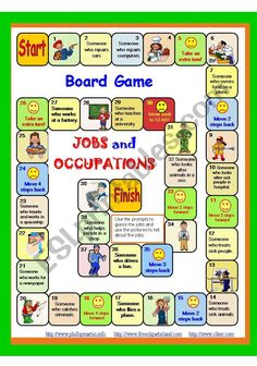 This Board game includes jobs and occupations from parts 1 - Instructions and key are included. I hope you´ll like it. Have a nice day! Larisa The Effective Pictures We Offer You About Board Games English Games, English Activities, English Lessons, Learn English, Community Jobs, Board Games For Couples, Board Game Design, Family Games, Teaching English