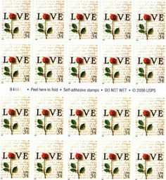 Love Letters 20 x 34 Cent US Stamps Scot 3497 NEW 2001 . $14.19. One (1) full sheet of the Love Letters 20 x 34 cent  United States U.S. Postage stamps  In mint condition.    Scot # 3497