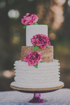 Pink and gold cake |