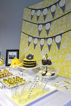 Baby bee theme (the banner board is covered in pretty fabric and is portable)