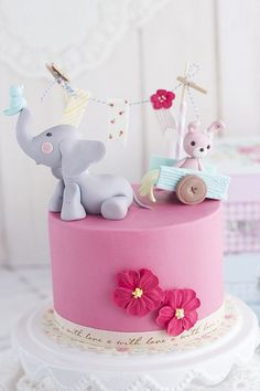 Baby shower or first birthday cake idea. Gorgeous Cakes, Pretty Cakes, Cute Cakes, Amazing Cakes, Gateau Baby Shower, Baby Shower Cakes, Baby Shower Cake Designs, Baby Cakes, Girl Cakes
