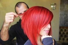 Red asymmetrical bob hairstyle