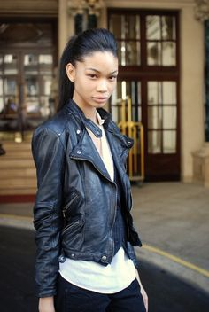 Chanel Iman: Street Style (in a nutshell: big heels, rocker leather, short skirts and killer attitude) Easy To Do Hairstyles, Casual Hairstyles, Ponytail Hairstyles, Black Women Hairstyles, Updos, Hair Styles 2014, Short Hair Styles, Engagement Photo Hair, Chanel Iman