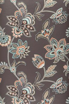 Zoom Marcia Wallpaper from the I think these flowers are closer to the paper we had in the dinning room but the color is wrong. Textile Pattern Design, Batik Pattern, Textile Patterns, Pattern Art, Print Patterns, Textiles, Retro Pattern, Folk Art Flowers, Flower Art