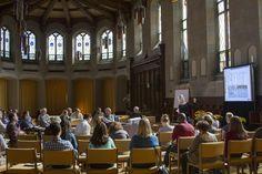 Presentation in meditation hall. Climate, Buildings, and Behavior 2014 Photo cred: Rhiannon Marino