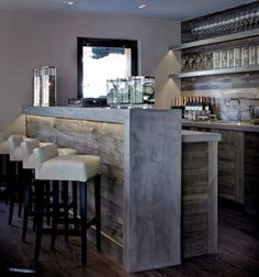 Modern snow bar: The gray wood is hugged here by gray concrete with drawing . Basement Bar Designs, Home Bar Designs, Style At Home, Small Bars For Home, Basement Inspiration, Kitchen Inspiration, Daily Inspiration, Simple House Design, Concrete Countertops