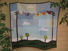 I could so do this! Birds on a Wire Quilt by kandaj on Etsy.   also would be cute with birds on clothsline