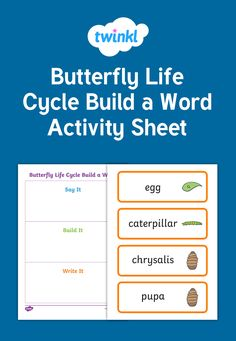 This worksheet is great for your Writing, ABC or Science centers. Students will use the butterfly life cycle word cards to say the word, build the word and write the word. Laminate the page to make it a long lasting resource. Use magnetic alphabet letters for building the word and dry erase markers to write the word.