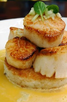 Seared Scallops over Rice Timbales