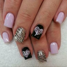 Lilac, black n silver nails Nail Designs Pictures, Cute Nail Art Designs, Creative Nail Designs, Pink Nail Designs, Creative Nails, Nails Design, Sparkly Nails, Silver Nails, Pink Nails