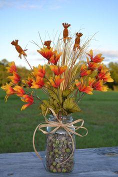 Flower Arrangment In Mason Jars Fall Floral Arrangement Using Mason Jar Fall Flowers Cat