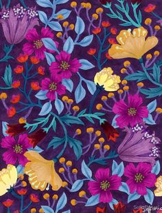 Watercolor floral repeat patterning