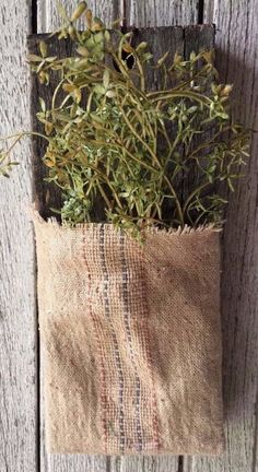 Primitive Wood Wall Pocket Country Home Spring Decor Farmhouse Grain Sack Bemis #NaivePrimitive