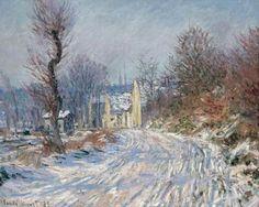 L'ENTRÉE DE GIVERNY EN HIVER by Claude Monet.