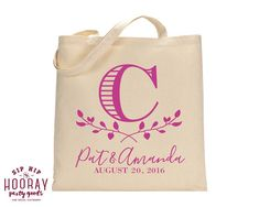 Wedding Welcome Bags Personalized Tote Bags Wedding Tote Bags Welcome Bags Wedding Favors Custom Cotton Totes Monogrammed Bags 1519 by SipHipHooray