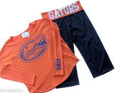 Victoria Secret PINK UF Florida Gators Cropped Yoga PANT TOP TEE Large NEW