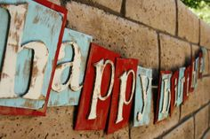 Happy Birthday Banner in Red/Blue for Boy or Girl Cardboard- Repurposed
