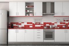 9 Kitchen Countertop Trends for 2015 Luxury Kitchen Design, Contemporary Kitchen Design, Interior Design Kitchen, Red And White Kitchen, Red Kitchen, Vintage Kitchen, Patterned Kitchen Tiles, Red Tiles, Kitchen Designs Photo Gallery