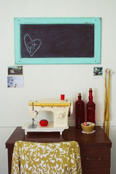 old cabinet door/frame for chalkboard