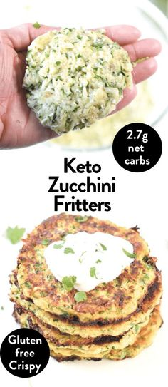 Keto Zucchini Fritters with Almond Flour #ketozucchinifritters #ketofritters #keto #fritters #zucchini #easy #healthy #almondflour #glutenfree #crispy #best #lowcarb Healthy Low Carb Recipes, Vegetable Recipes, Keto Recipes, Paleo Meals, Keto Foods, Healthy Eats, Coconut Flour Nutrition Facts, Zucchini Keto Recipe, Keto Carbs