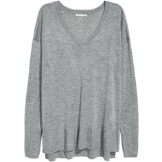 Fine-knit Sweater $24.99 ($25) ❤ liked on Polyvore featuring tops, sweaters, v-neck tops, v neck tops, v-neck sweater, grey top and ribbed sweater