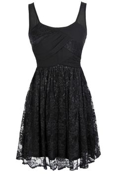 Tracy Chiffon and Lace Dress in Black  www.lilyboutique.com