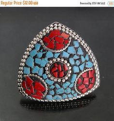 Christmas SALE Turquoise and coral ring  tibet by RareGemsNJewels