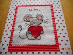 cross stitch Valentine's Card find in etsy shop DebbyWebbysCards