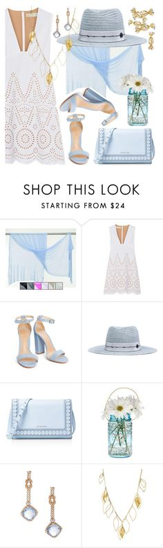 """White/Baby Blue/Gold"" by petalp ❤ liked on Polyvore featuring STELLA McCARTNEY, Maison Margiela, MICHAEL Michael Kors, Cultural Intrigue, Derek Lam, Aurélie Bidermann, white and dress"