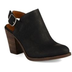 Lucky Emery Bootie Never been worn....sadly slightly too big. Black leather upper, closed round toe, adjustable buckle strap closure at heel for easy on/off and secure fit. Approximately 3 inch heel. Lucky Brand Shoes Ankle Boots & Booties
