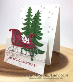Stampin' Up!'s Santa's Sleigh Pop Out fold Christmas Card from www.mystamplady.com video tutorial unique fold